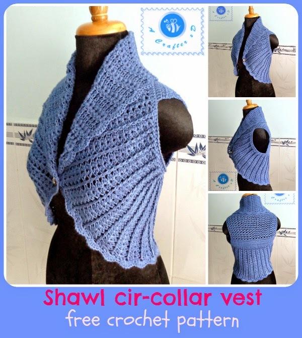 Knitting Pattern For Shawl Collar Vest : Shawl Cir-Collar Vest Free Easy Crochet Pattern FaveCrafts.com