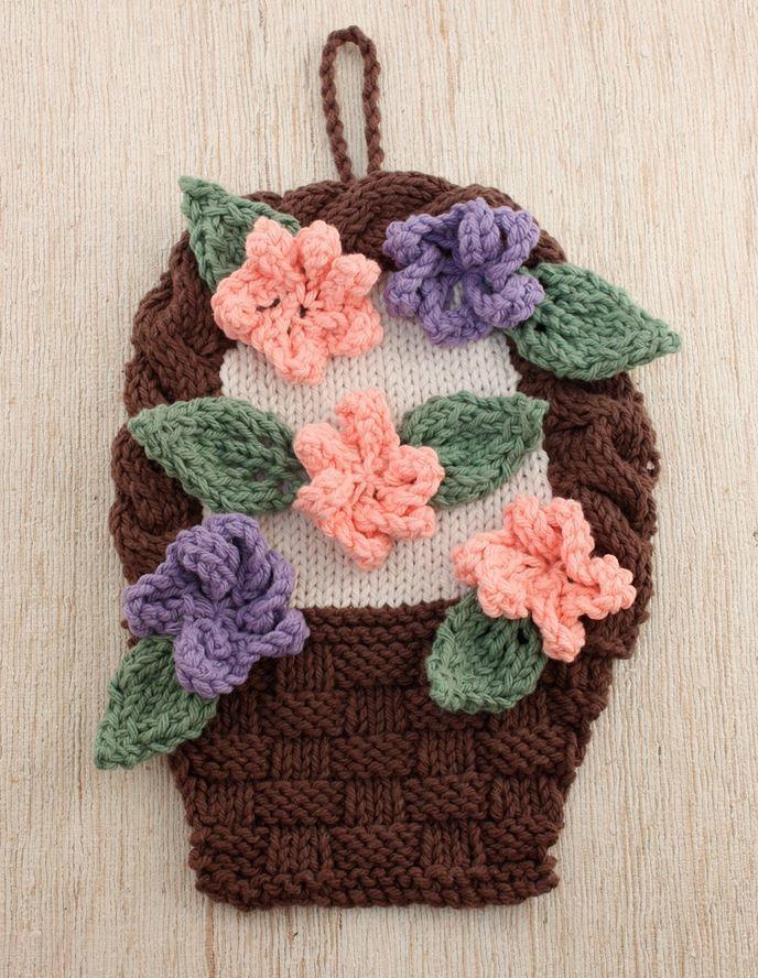 Flower Basket Knit Dishcloth Pattern | AllFreeKnitting.com