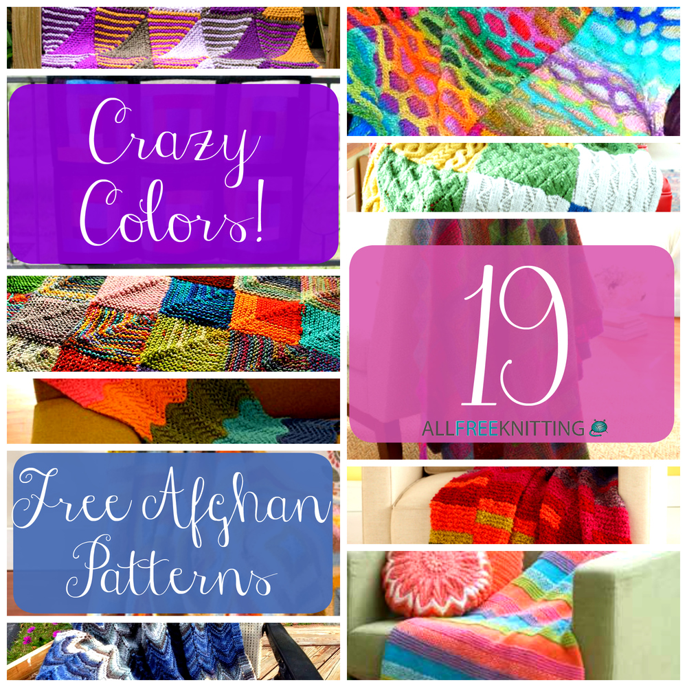 Crazy Colors: 19 Free Afghan Patterns   AllFreeKnitting.com