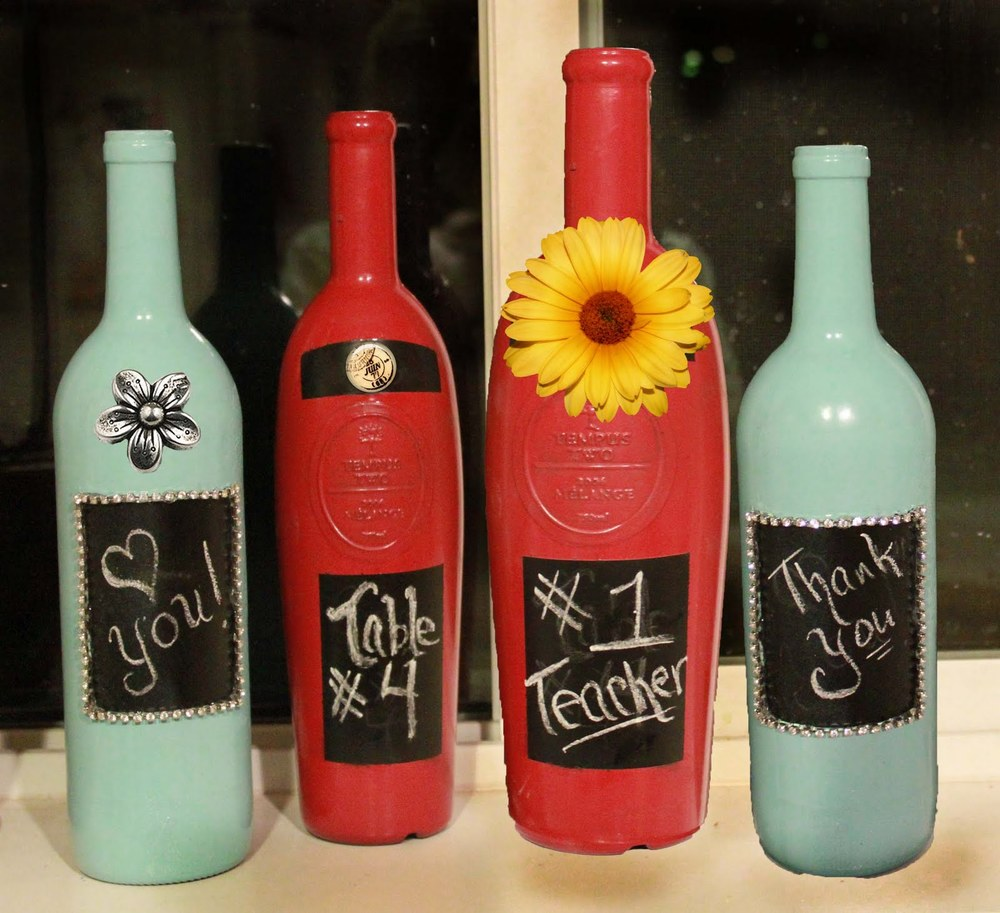 Decorative painted wine bottle for Diy wine bottle gifts
