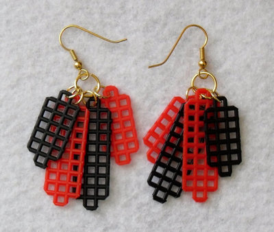 Red and Black Dangly Plastic Earrings