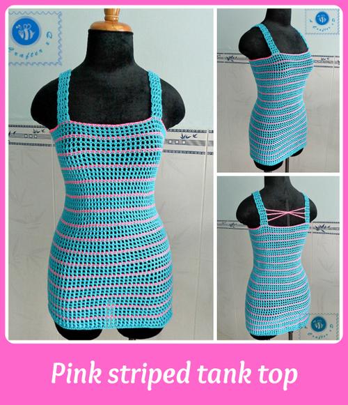 Pink Striped Crochet Tank Top Allfreecrochet