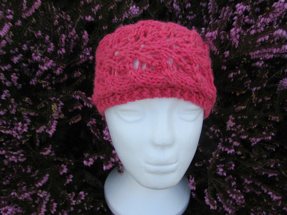 Twin Leaf Lace Headband Allfreeknitting