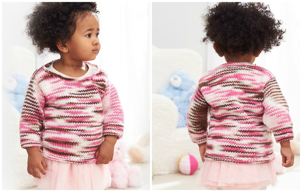 Layered Stripes Baby Knit Pullover | AllFreeKnitting.com
