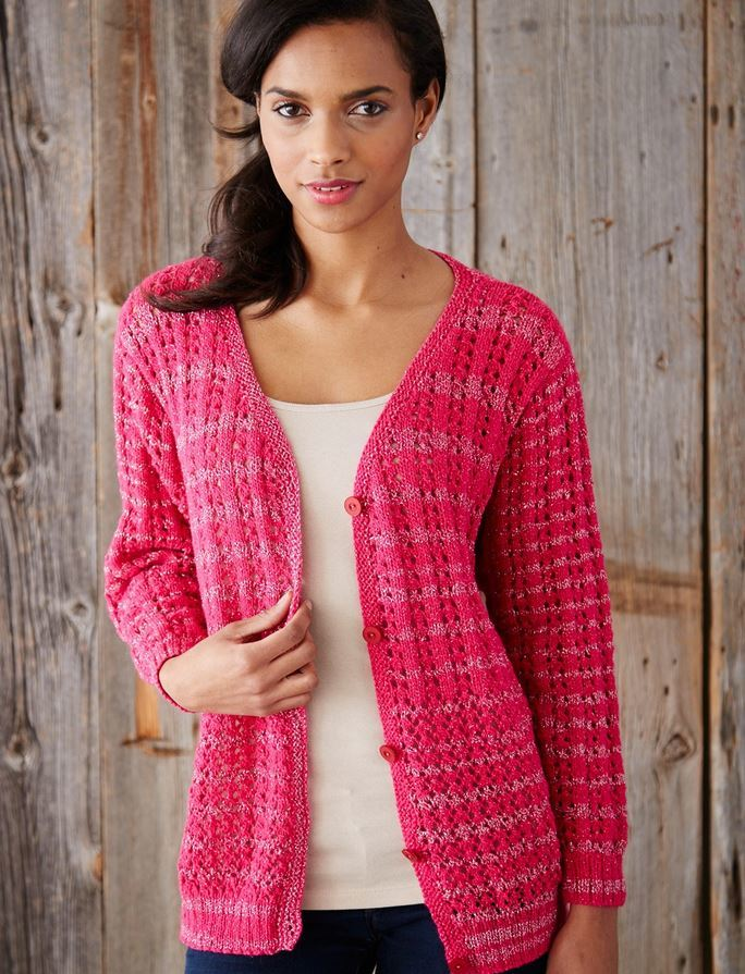 Knitting Patterns For Cardigans : Love and Lace Knit Cardigan AllFreeKnitting.com