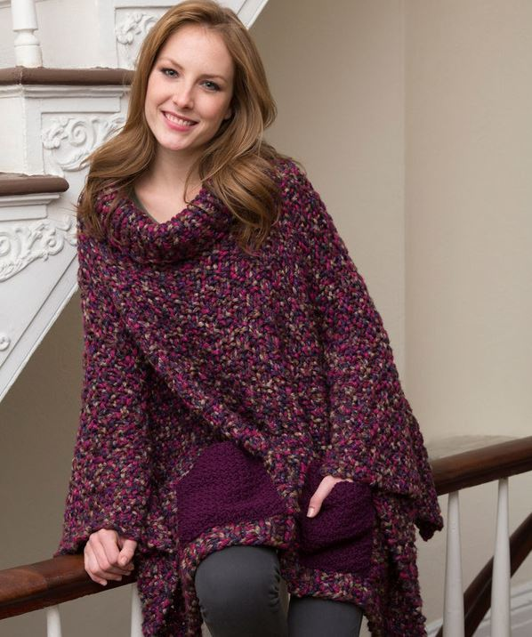 Free Knitting Pattern For A Poncho : Cozy Pocketed Knit Poncho AllFreeKnitting.com