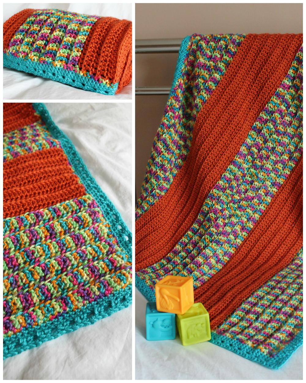 Happy Stripes Crochet Baby Blanket Allfreecrochet Com