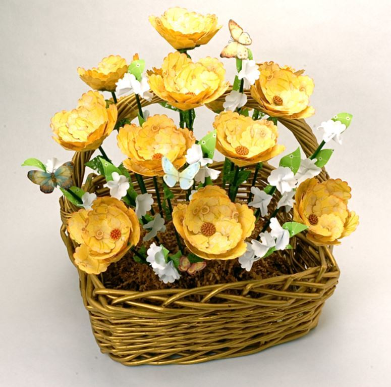 Rustic paper flower basket allfreediyweddings mightylinksfo