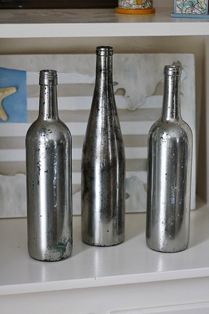 Upcycled Looking Glass Wine Bottles