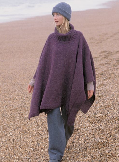 Knitting Pattern For Turtleneck Poncho : Turtleneck Knit Poncho AllFreeKnitting.com