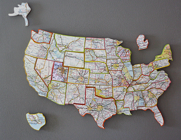 Recycled State Map Magnets Favecrafts Com