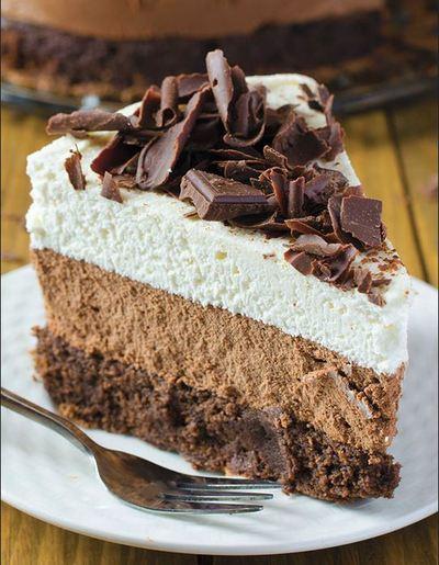Triple Chocolate Mousse Cake  TheBestDessertRecipes.com