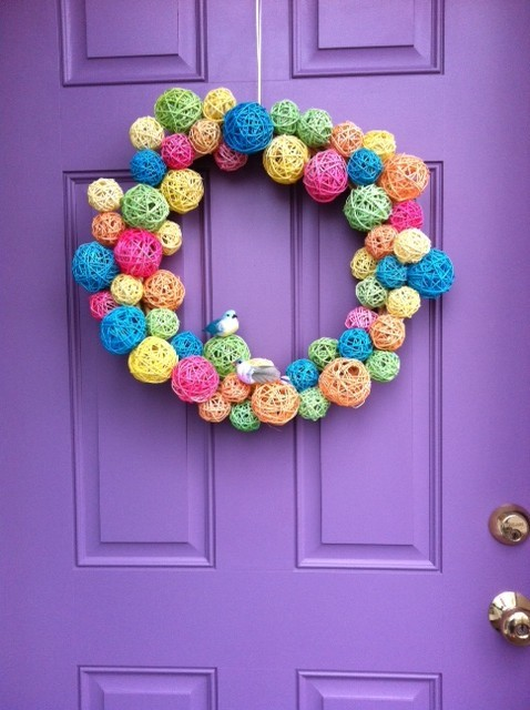 Dollar Store Spring Rainbow Wreath