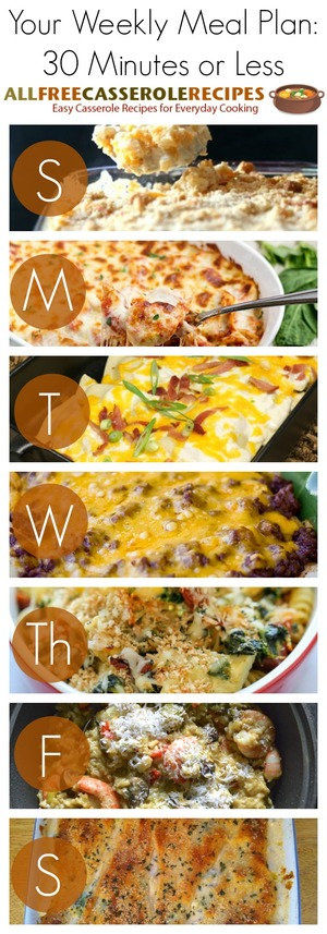30 Minutes or Less Weekly Meal Plan