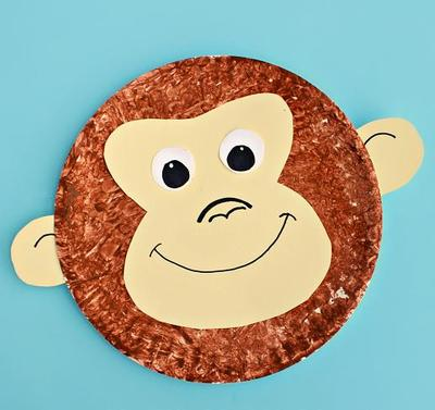 Monkey Face Paper Plate Craft : paper plate animals - pezcame.com