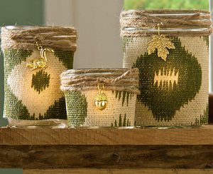 Rustic Burlap Candle Holders