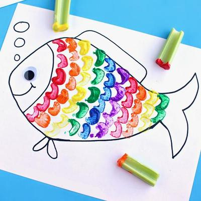 Rainbow fish art craft for kids for Arts and craft activities for kids