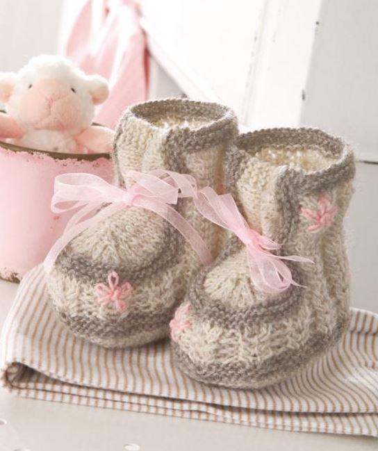 Tiny Baby Booties Knitting Pattern : Little Lady Knit Booties AllFreeKnitting.com