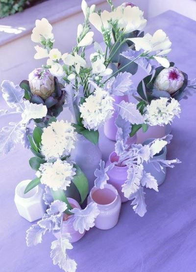 Painted Glass Jar Centerpieces