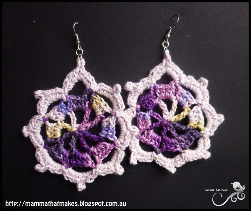 Free Crochet Pattern For Iris Flower : Iris Crochet Earrings Pattern FaveCrafts.com