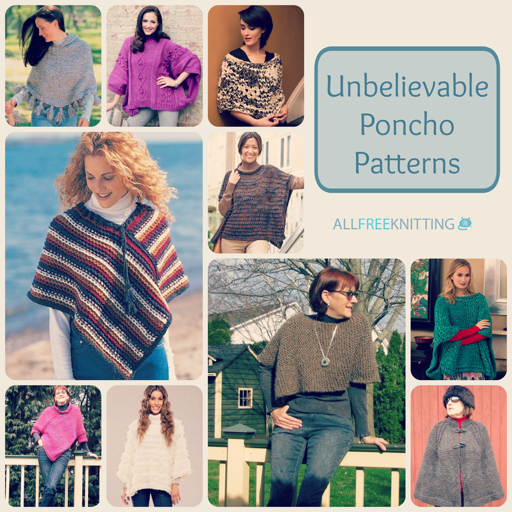 20+ Unbelievable Poncho Patterns | AllFreeKnitting.com