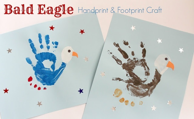 Bald Eagle Hand Print And Foot Print Craft