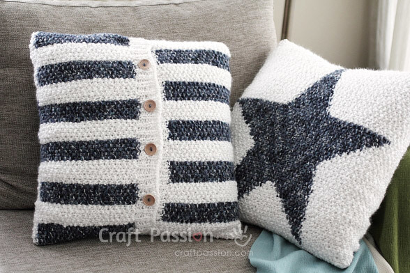 Free Knitting Cushion Patterns : Star Pattern Pillow AllFreeKnitting.com