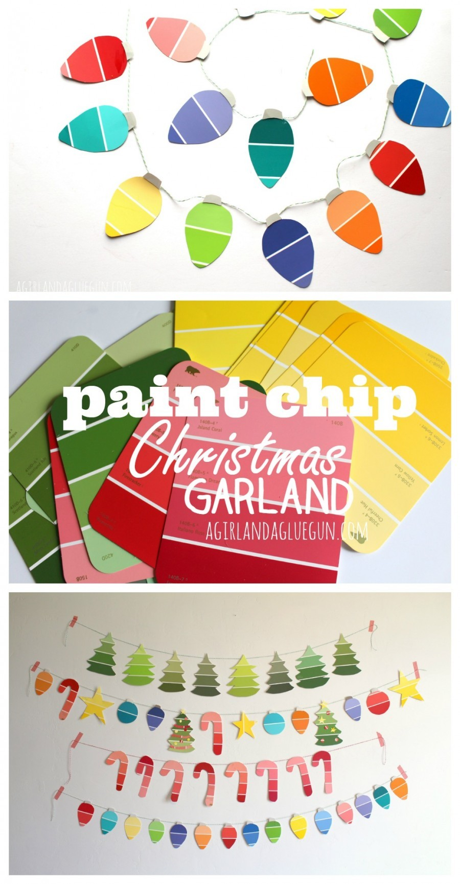 Paint chip christmas garland for X mas decorations for kids