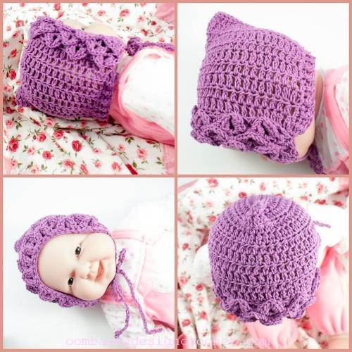 Crocodile Stitch Baby Bonnet Allfreecrochet