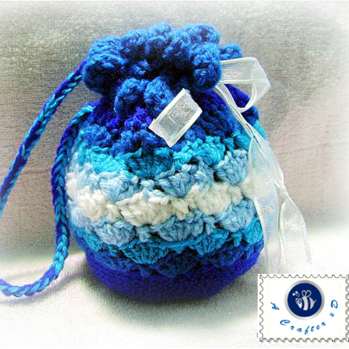 Shades of Blue Crochet Gift Bag