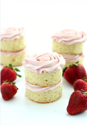 Mini Cakes with Strawberry Swiss Meringue Buttercream