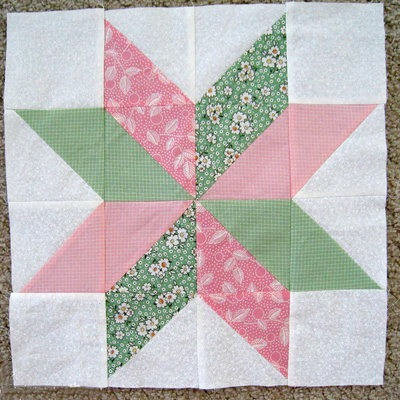 Free Quilt Patterns And Blocks : Star Flower Quilt Block FaveQuilts.com