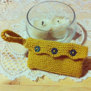 Mustard Yellow Garter Stitch Purse