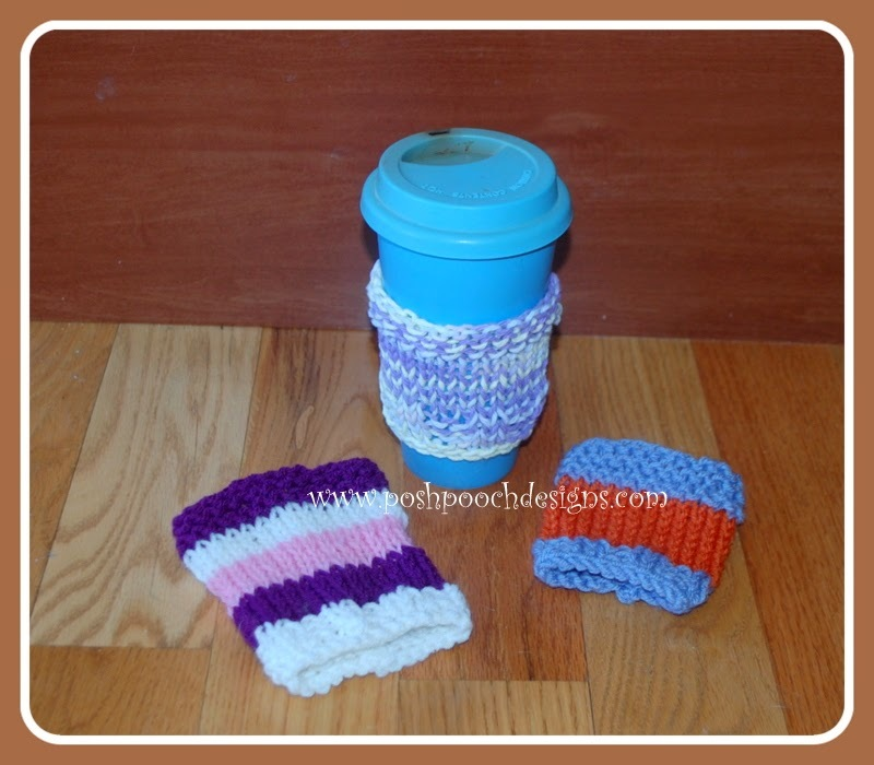 Easy Knit Coffee Cozy Pattern | AllFreeKnitting.com