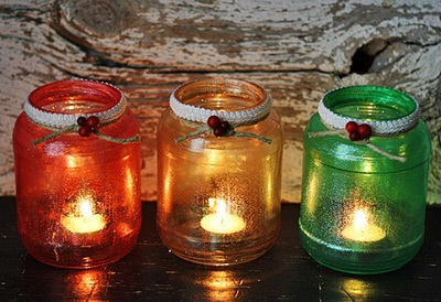 Christmas Glass Jar Luminaries