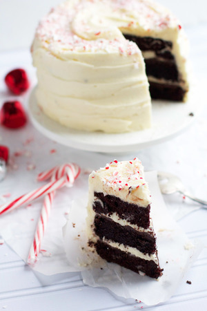 Dark Chocolate Peppermint Layered Cake