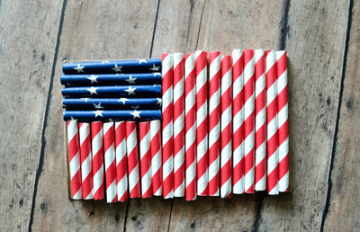 Simple Paper Straw American Flag