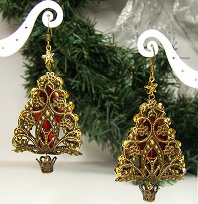 rhinestone p hollow out christmas tree new acrylic earrings colormix