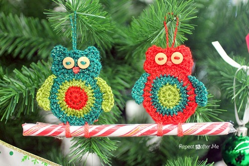 Crochet Owl Candy Cane Ornament