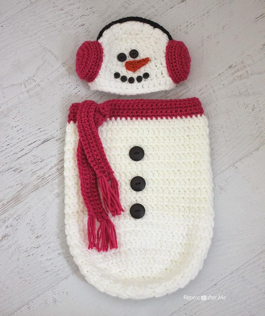 Crochet Snowman Hat and Cocoon | AllFreeCrochet.com