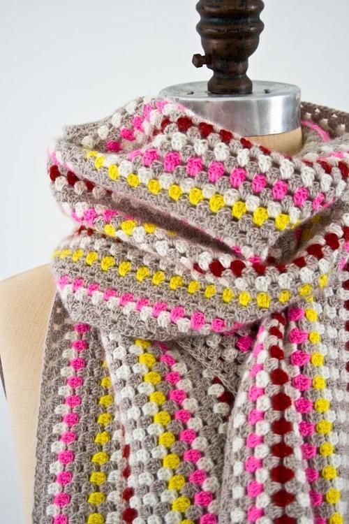 Granny Stripe Crochet Scarf Allfreecrochet