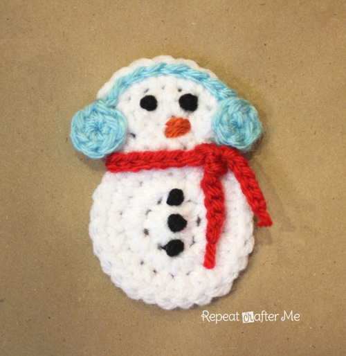 Crochet Snowman Applique Allfreecrochet