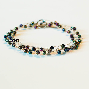 Boho-Chic Wire Wrapped Beaded Crochet Bracelet
