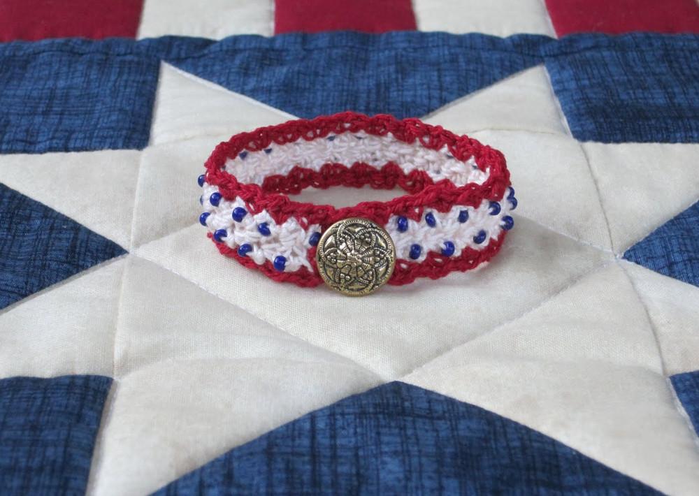 Sweet Liberty Beaded Crochet Bracelet Allfreejewelrymaking