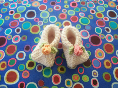 Flower On Top Baby Booties Knitting Pattern | FaveCrafts.com