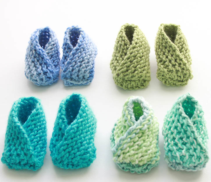 Knitting Slippers For Charity : Crossover knit baby booties pattern favecrafts