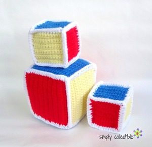 Crochet Baby Rattle Blocks