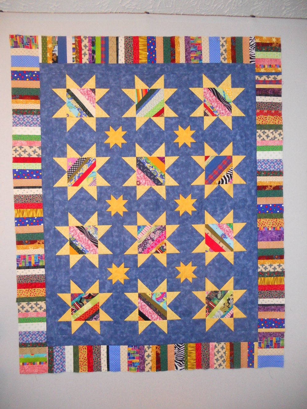 String Pieced Star Quilt Pattern Favequilts Com