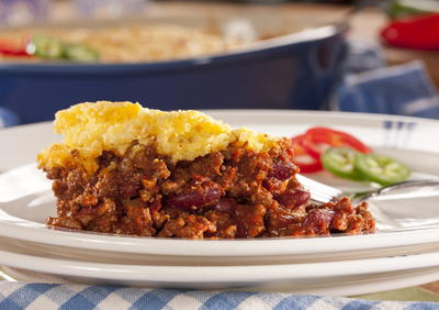 Cheesy Cornbread and Chili Bake