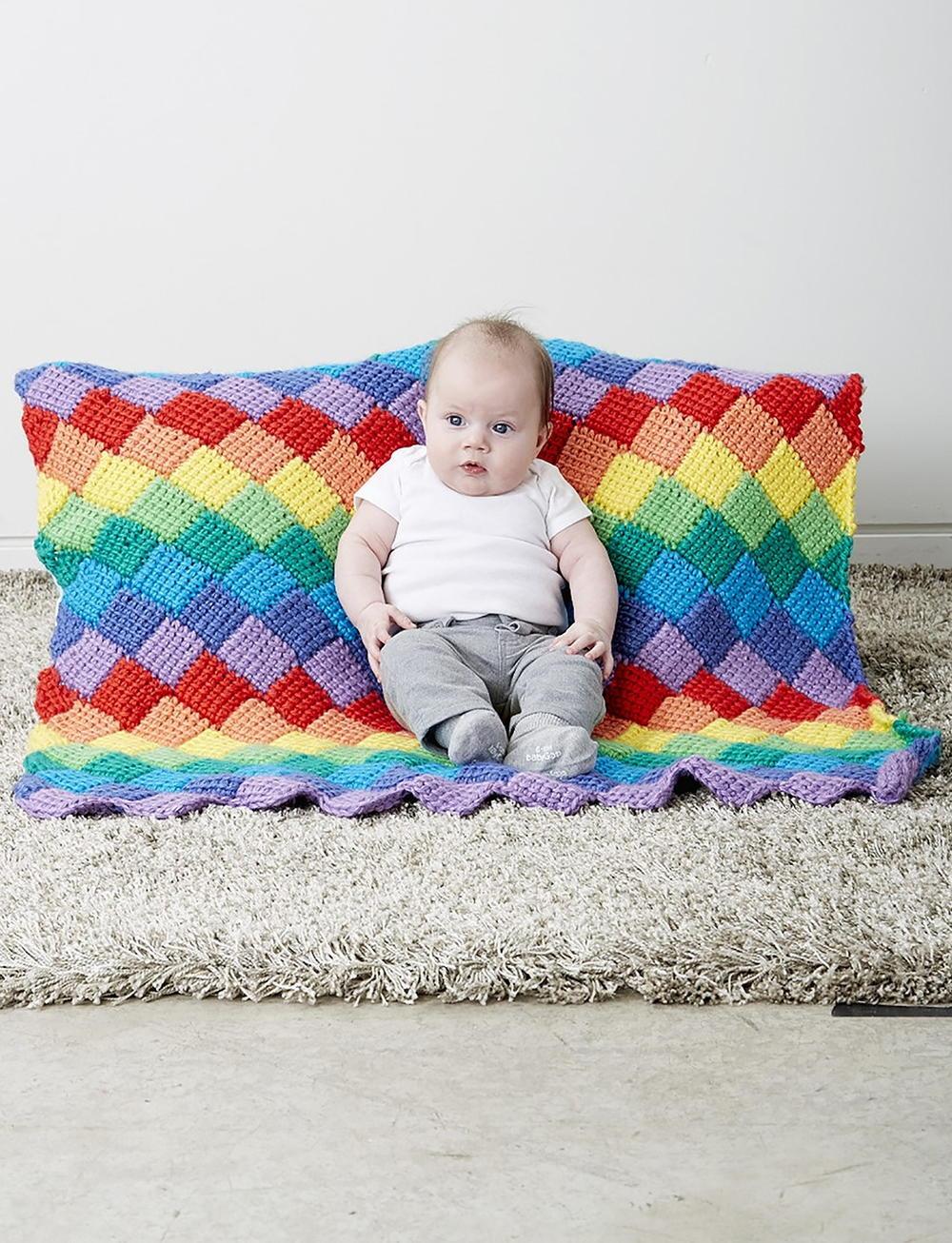 Rainbow Tunisian Crochet Baby Blanket Pattern | AllFreeCrochet.com